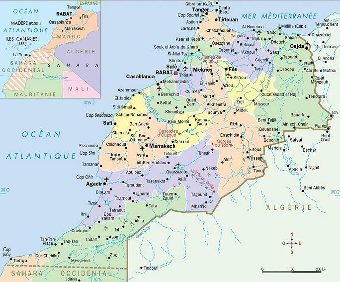Carte du maroc – carte maroc – maps