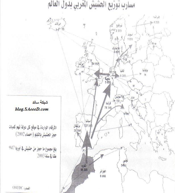 مسار توزيع الحشيش المغربي بدول العالم