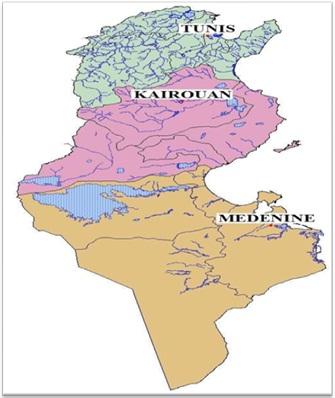 Les trois grandes régions naturelles de la Tunisie