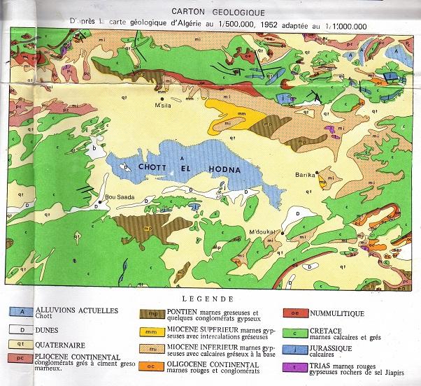 Géologie de la région du Hodna
