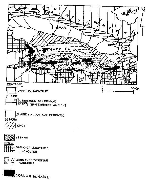 Figure n° 03 : Relief de la région du Hodna. (Hadjeb M, 1998)