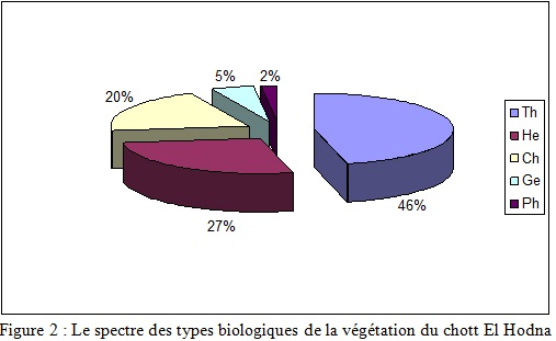 Le spectre des types biologiques de la végétation du chott El Hodna
