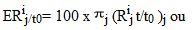 ERij/t0= 100 x j (Rij t/t0 )j ou